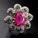 Handcrafted Silver Ring with Ruby and Sapphire